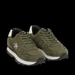 Sneakers verdi in microfibra, Scarpe, 140600201MFVERD035, 002a