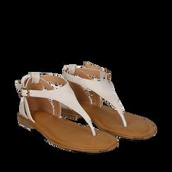 Sandali infradito bianchi in eco-pelle, Primadonna, 134958215EPBIAN036, 002a