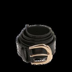 Cintura nera in eco-pelle stampa cocco, Abbigliamento, 144045701CCNEROUNI, 001a