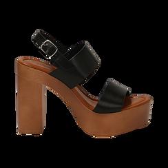 Sandali platform neri in eco-pelle con due fasce, tacco 12 cm , Saldi Estivi, 132147761EPNERO035, 001 preview