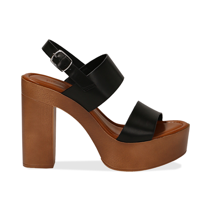 Sandali platform neri in eco-pelle con due fasce, tacco 12 cm , Saldi Estivi, 132147761EPNERO035