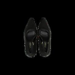 Décolleté nere scamosciate con punta affusolata, tacco 10 cm, Scarpe, 122166025MFNERO, 004 preview