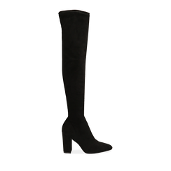 Stivali overknee neri in microfibra, tacco 9,50 cm , Primadonna, 163026515MFNERO035, 001 preview