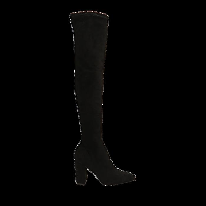 Stivali overknee neri in microfibra, tacco 9,50 cm , Primadonna, 163026515MFNERO035
