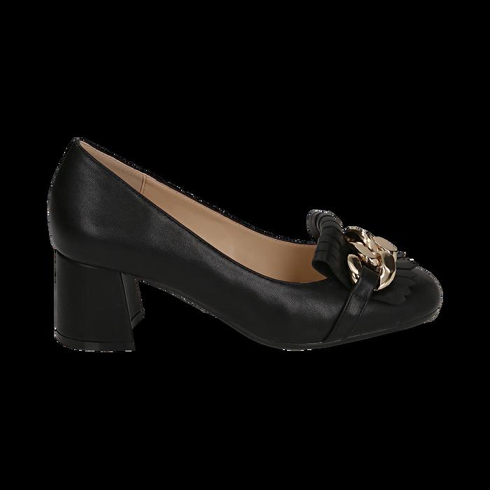 Mocassins noir en simili-cuir avec des franges et une maxi-chaîne, talon de 6 cm, Chaussures, 152186582EPNERO036
