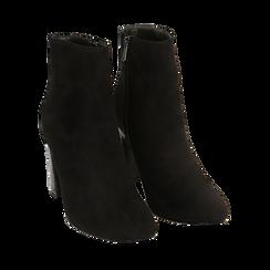 Bottines noir en microfibre, talon 8,5 cm, Primadonna, 164953691MFNERO036, 002 preview