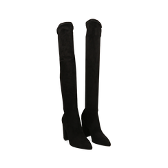 Stivali overknee neri in microfibra, tacco 9,50 cm , 163026515MFNERO039, 002a