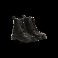 Anfibi neri con lacci, tacco basso, Scarpe, 122801501EPNERO, 002 preview