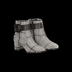 Tronchetti tweed con maxi-fibbia, tacco 5 cm, Scarpe, 122707413TSNEBI035, 002