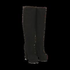 Overknee con plateau neri in microfibra, tacco 13,5 cm , Primadonna, 142103015MFNERO041, 002 preview
