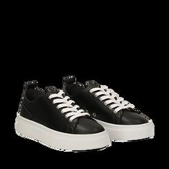 Sneakers nere in eco-pelle, Scarpe, 132500778EPNERO035, 002a