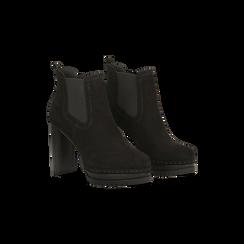 Chelsea Boots neri scamosciati, tacco 10 cm, Scarpe, 128403191MFNERO, 002 preview