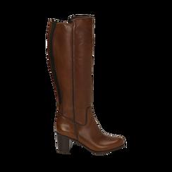 Stivali cuoio in pelle, tacco 7,50 cm, Primadonna, 167738002PECUOI037, 001a