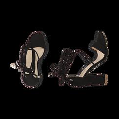 Sandali lace-up neri in microfibra, tacco 10,50 cm, Scarpe, 152760851MFNERO036, 003 preview