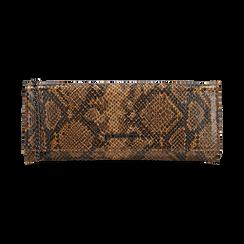 Pochette piatta marrone in eco-pelle snake print, Primadonna, 145122510PTMARRUNI, 001 preview