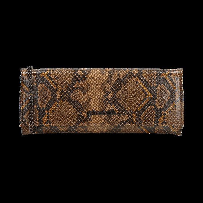 Pochette piatta marrone in eco-pelle snake print, Primadonna, 145122510PTMARRUNI