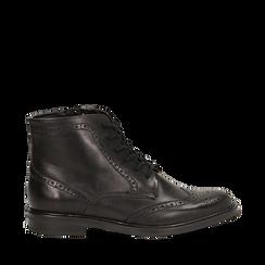 Polacchino nero in pelle con lavorazione Duilio, Scarpe, 147729509PENERO036, 001a