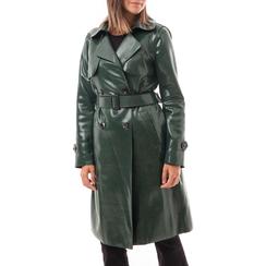 Trench verde in eco-pelle effetto snake skin, Abbigliamento, 14C990343EVVERD3XL, 001a