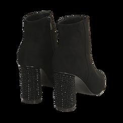 Ankle boots neri in microfibra, tacco gioiello 9 cm, Primadonna, 164981396MFNERO035, 004 preview
