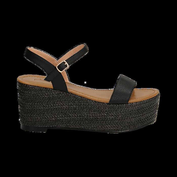 Sandali platform neri in eco-pelle, zeppa in corda 8 cm, Primadonna, 134983293EPNERO036