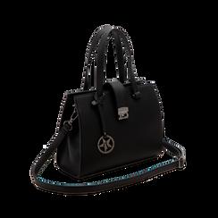 Mini bag nera in ecopelle, Saldi Borse, 125706683EPNEROUNI, 003 preview