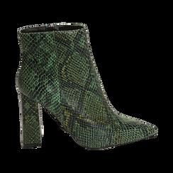 Ankle boots verdi in eco-pelle stampa pitone, tacco 9,5 cm , Primadonna, 142186672PTVERD035, 001 preview