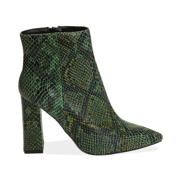 Ankle boots verdi in eco-pelle stampa pitone, tacco 9,5 cm , Primadonna, 142186672PTVERD035