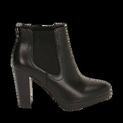 Ankle boots neri, tacco 9,50 cm , Primadonna, 160619074EPNERO036, 001a