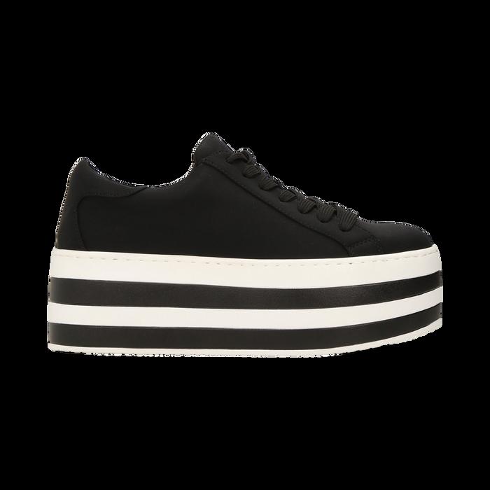 Sneakers nere con suola platform a righe 6 cm, Scarpe, 12A777615LYNERO