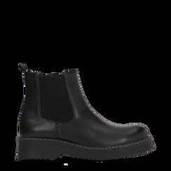 Chelsea Boots neri con tacco basso, Scarpe, 120639020EPNERO035, 001a