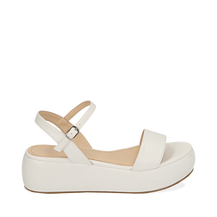 Sandali bianchi in eco-pelle, zeppa 5 cm , Chaussures, 159790131EPBIAN037, 001a