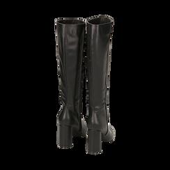 Stivali neri in eco-pelle, tacco 9 cm , Scarpe, 142182525EPNERO035, 003 preview