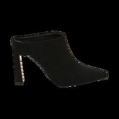 Mules nere in microfibra, tacco 10 cm  , Scarpe, 141755071MFNERO035, 001 preview
