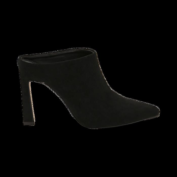 Mules nere in microfibra, tacco 10 cm  , Scarpe, 141755071MFNERO035