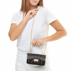 Mini-bag nera in pvc, Primadonna, 137409999PVNEROUNI, 002a