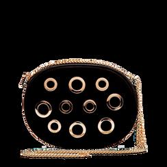 Tracollina nera in microfibra con oblò dorati, Saldi, 123308609MFNEROUNI, 001a