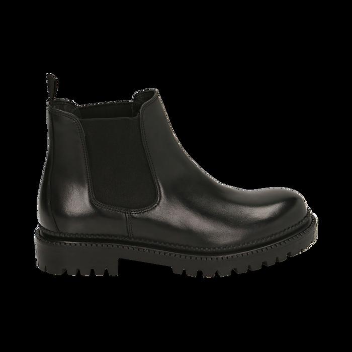 Chelsea boots neri in pelle, Primadonna, 16B811404PENERO038