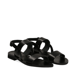 Sandali flat neri in pelle, Saldi Estivi, 138102005VANERO035, 002a