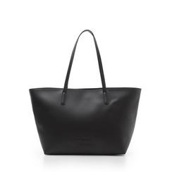 Maxi-bag nera in eco-pelle con manici in tinta, Borse, 133783134EPNEROUNI, 001a