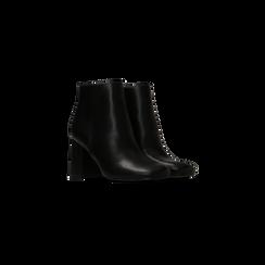 Tronchetti neri, tacco 7,5 cm, Scarpe, 122182021EPNERO040, 002 preview