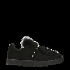 Sneakers nere  slip-on con dettagli faux-fur e borchie, Scarpe, 129300023MFNERO038, 001a