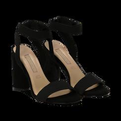 Sandali neri in tessuto elastico, tacco 10,50 cm, Sandali con tacco, 132133877TSNERO036, 002 preview