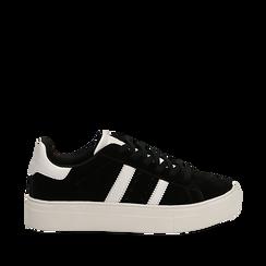 Sneakers nere in microfibra stile vintage Seventies, Scarpe, 130101157MFNERO035, 001a