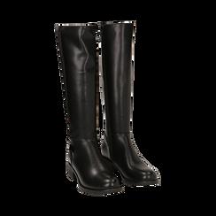 Stivali flat neri, tacco 4 cm , Primadonna, 160621682EPNERO036, 002 preview