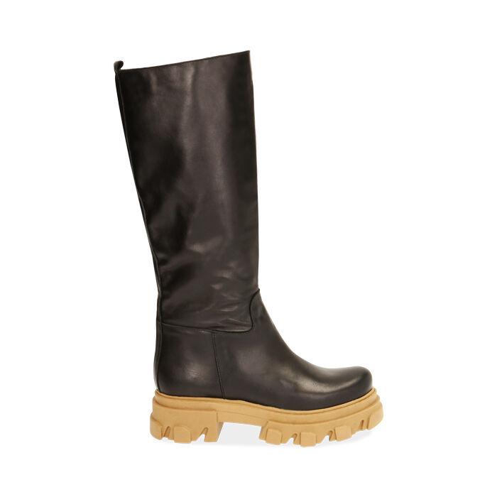 Botas de piel en negro, tacón 4 cm, Primadonna, 17L666810VINERO036