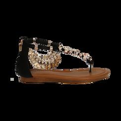 Sandali gioiello flat neri in raso , Primadonna, 133601507RSNERO, 001 preview