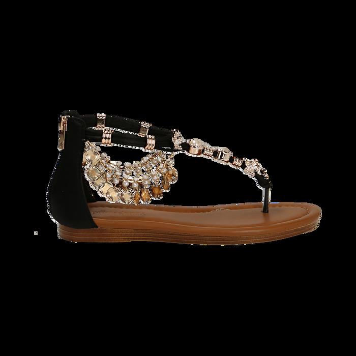 Sandali gioiello flat neri in raso , Primadonna, 133601507RSNERO