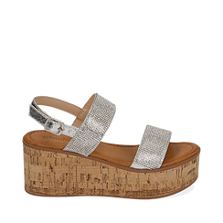 Sandales argentées à imprimé serpent, compensées 7,50 cm, Primadonna, 154951966EVARGE035, 001a