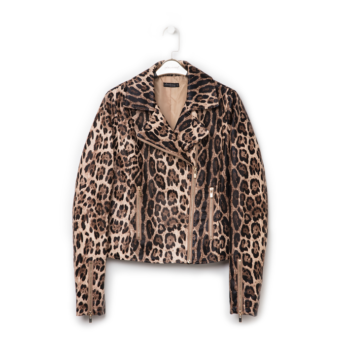 Biker jacket leopard in eco-pelle, Primadonna, 136501161EPLEOPL