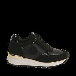 Sneakers nere in microfibra, zeppa 4 cm , Primadonna, 162826712MFNERO035, 001a